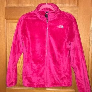 HOT PINK fuzzy The North Face jacket